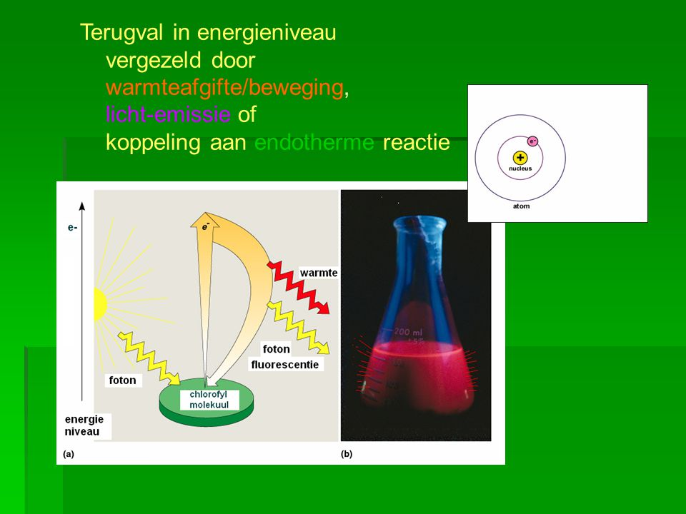 Terugval in energieniveau vergezeld door warmteafgifte/beweging, licht-emissie of koppeling aan endotherme reactie