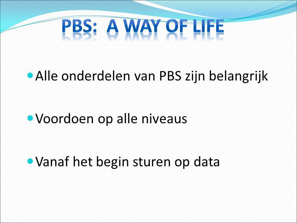 PBS: A way of life Alle onderdelen van PBS zijn belangrijk