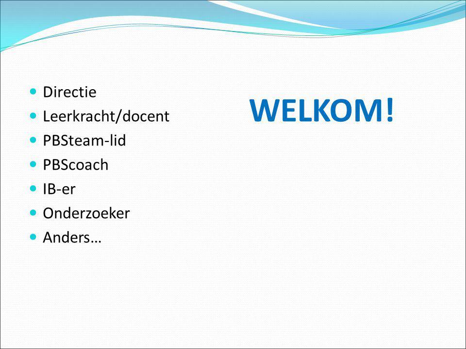 WELKOM! Directie Leerkracht/docent PBSteam-lid PBScoach IB-er