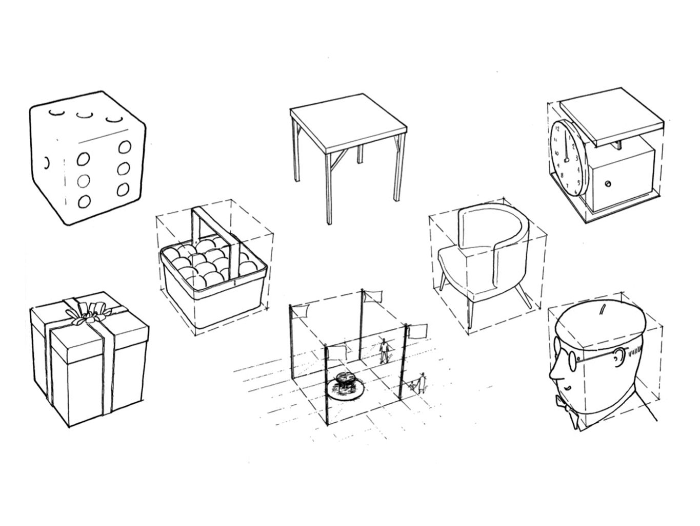 de kubus helpt met het correct tekenen van objecten in perspectief