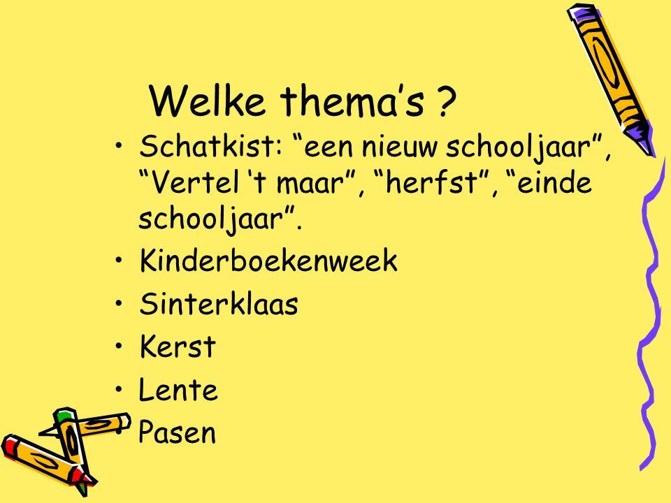 Welke thema's Schatkist: een nieuw schooljaar , Vertel 't maar , herfst , einde schooljaar . Kinderboekenweek.