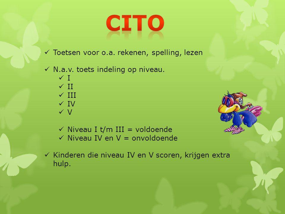 Cito Toetsen voor o.a. rekenen, spelling, lezen