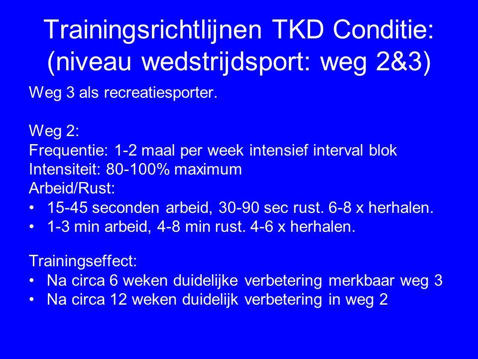 Trainingsrichtlijnen TKD Conditie: (niveau wedstrijdsport: weg 2&3)