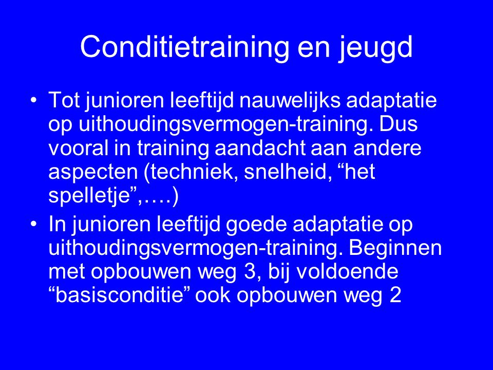 Conditietraining en jeugd