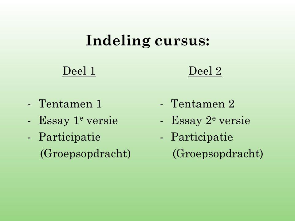 Indeling cursus: Deel 1 Tentamen 1 Essay 1e versie Participatie