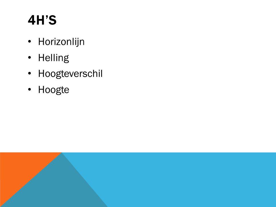 4H's Horizonlijn Helling Hoogteverschil Hoogte
