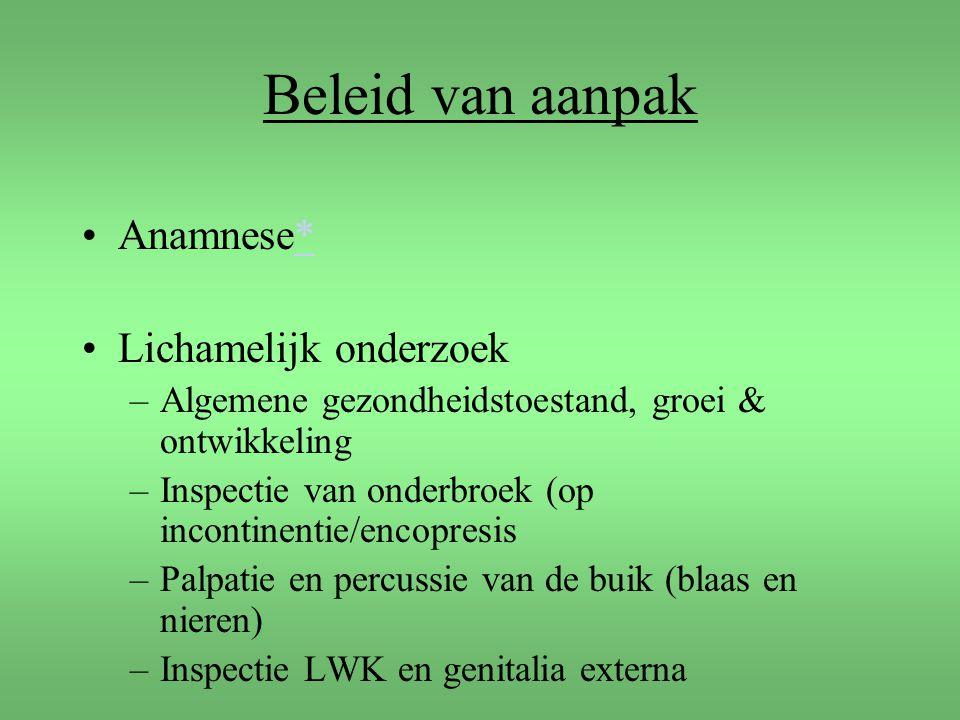 Beleid van aanpak Anamnese* Lichamelijk onderzoek