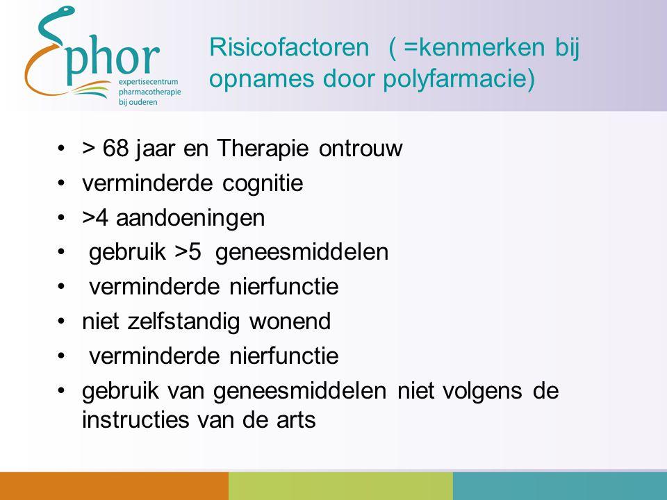 Risicofactoren ( =kenmerken bij opnames door polyfarmacie)