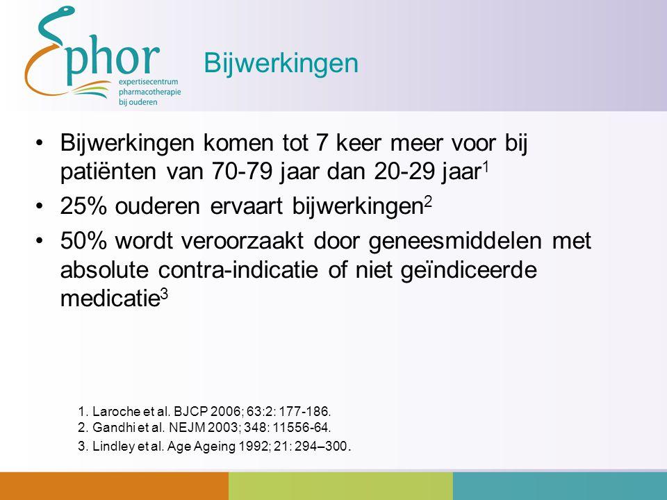 Bijwerkingen Bijwerkingen komen tot 7 keer meer voor bij patiënten van 70-79 jaar dan 20-29 jaar1. 25% ouderen ervaart bijwerkingen2.