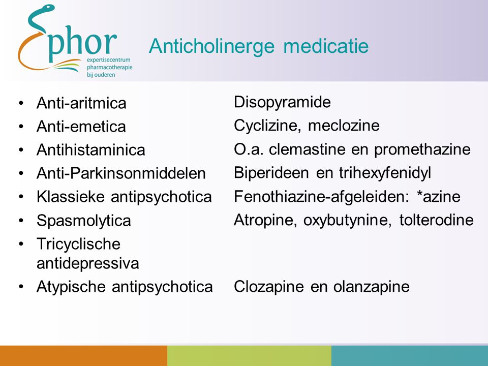 Anticholinerge medicatie