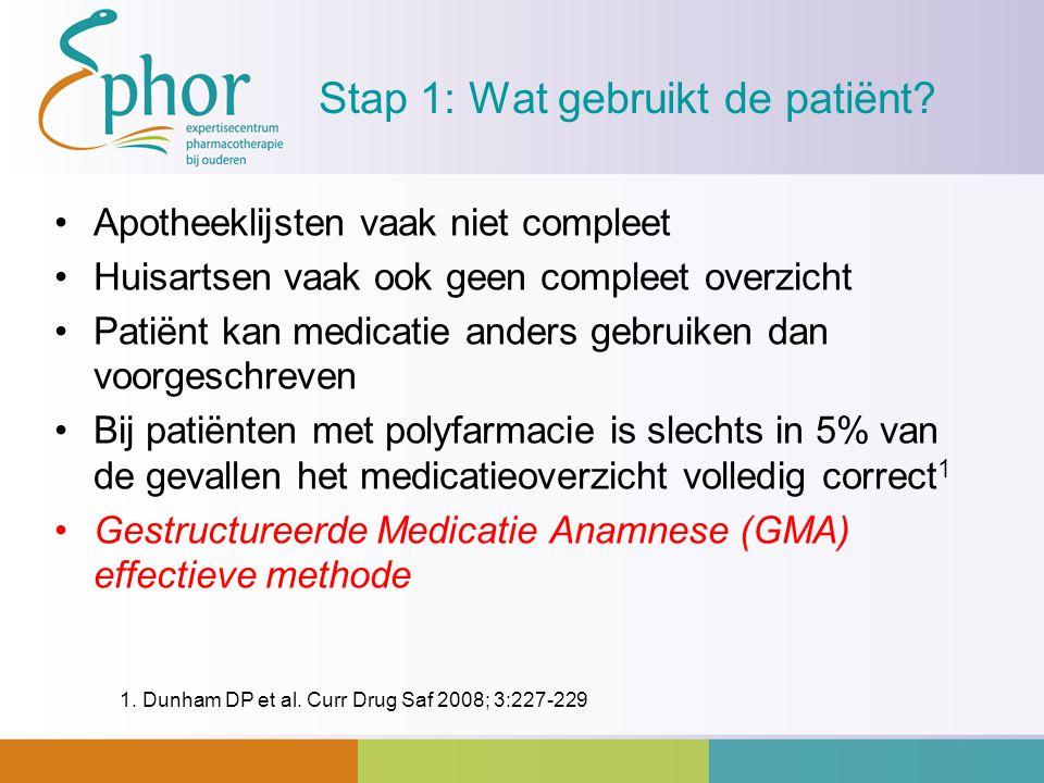 Stap 1: Wat gebruikt de patiënt