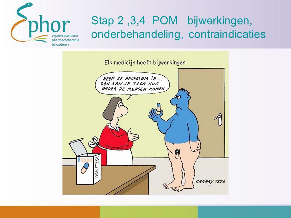 Stap 2 ,3,4 POM bijwerkingen, onderbehandeling, contraindicaties