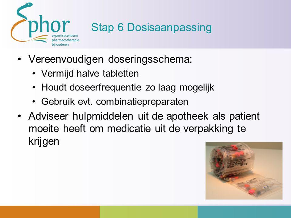 Stap 6 Dosisaanpassing Vereenvoudigen doseringsschema: