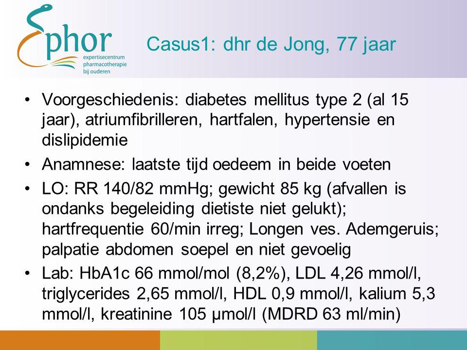 Casus1: dhr de Jong, 77 jaar Voorgeschiedenis: diabetes mellitus type 2 (al 15 jaar), atriumfibrilleren, hartfalen, hypertensie en dislipidemie.