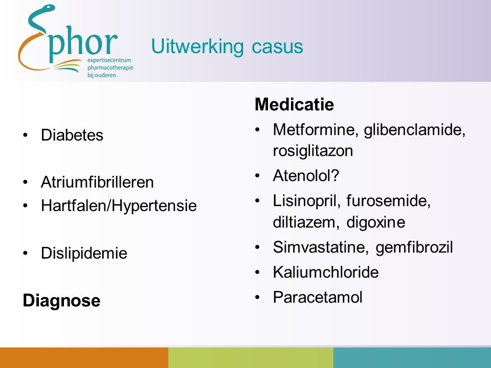 Uitwerking casus Medicatie Diagnose