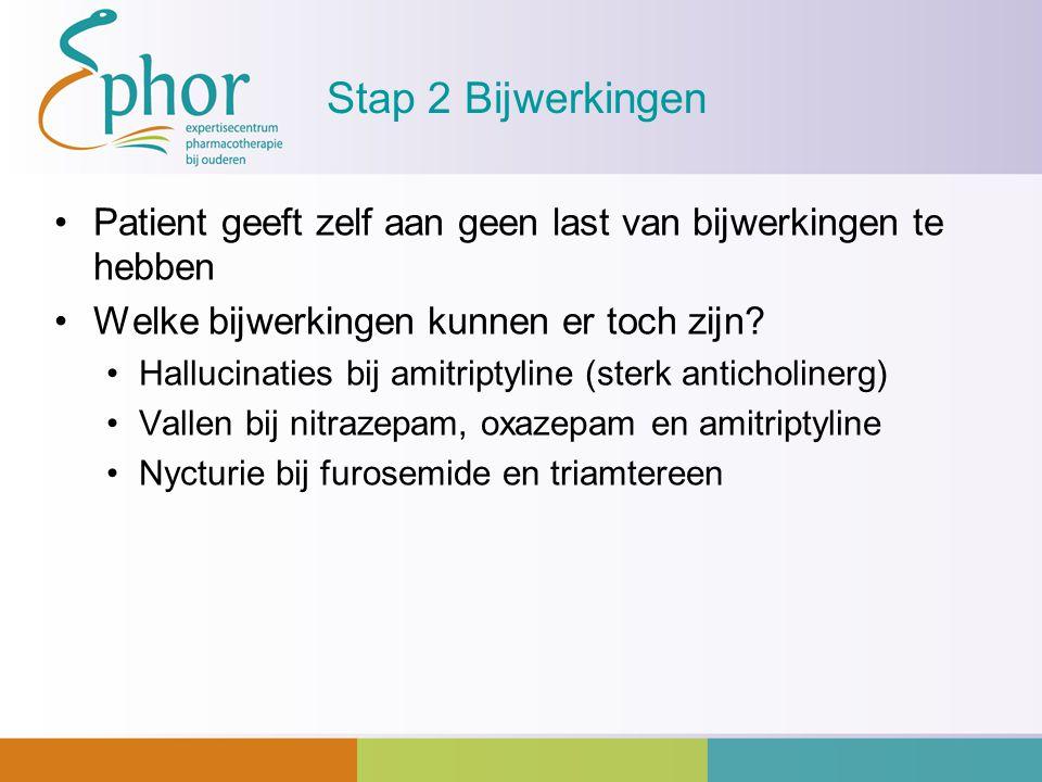 Stap 2 Bijwerkingen Patient geeft zelf aan geen last van bijwerkingen te hebben. Welke bijwerkingen kunnen er toch zijn