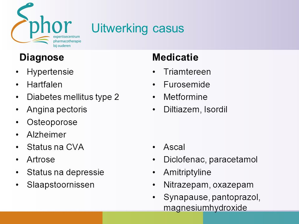 Uitwerking casus Diagnose Medicatie Hypertensie Hartfalen