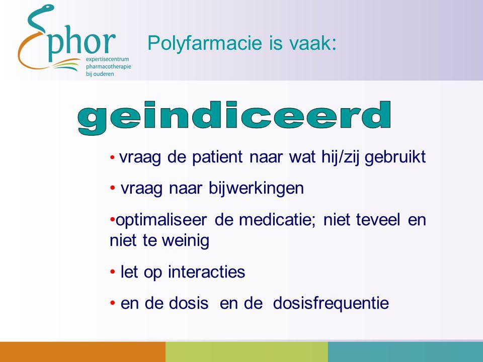geindiceerd Polyfarmacie is vaak: vraag naar bijwerkingen