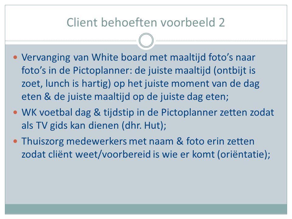 Client behoeften voorbeeld 2