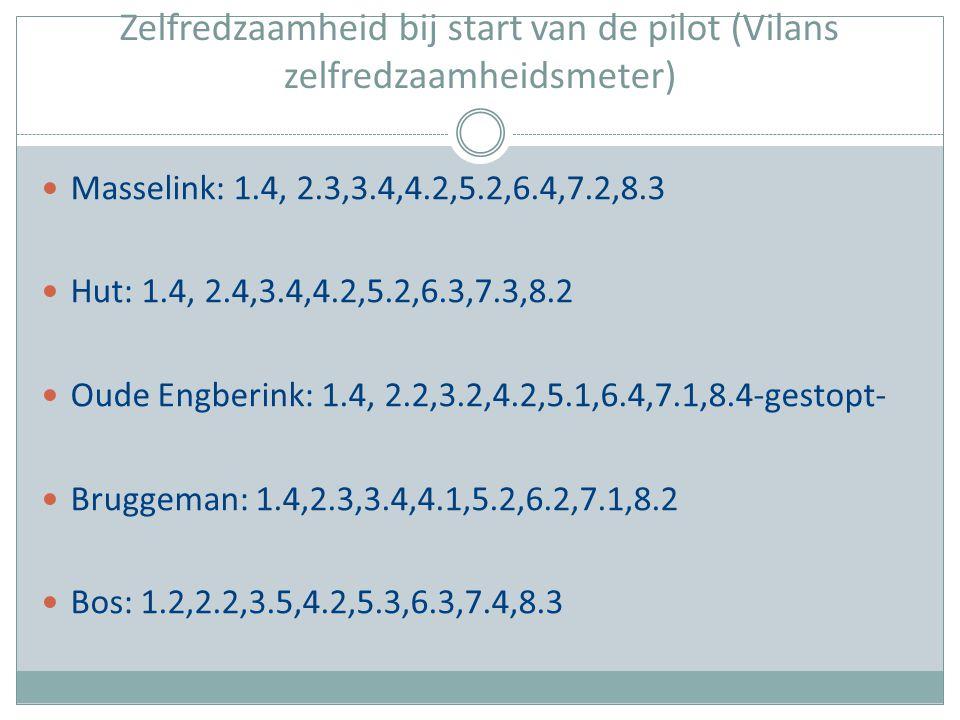 Zelfredzaamheid bij start van de pilot (Vilans zelfredzaamheidsmeter)