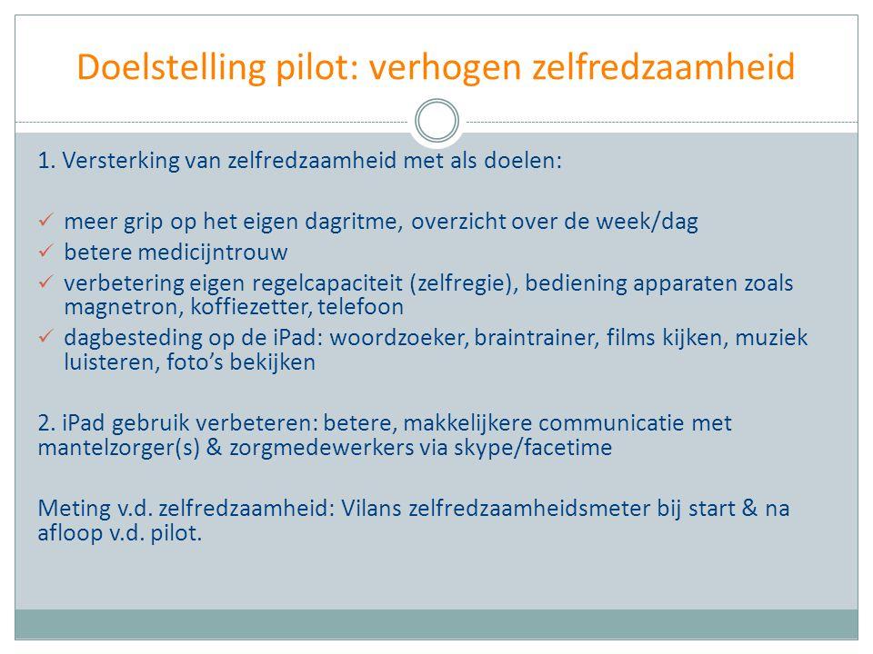 Doelstelling pilot: verhogen zelfredzaamheid