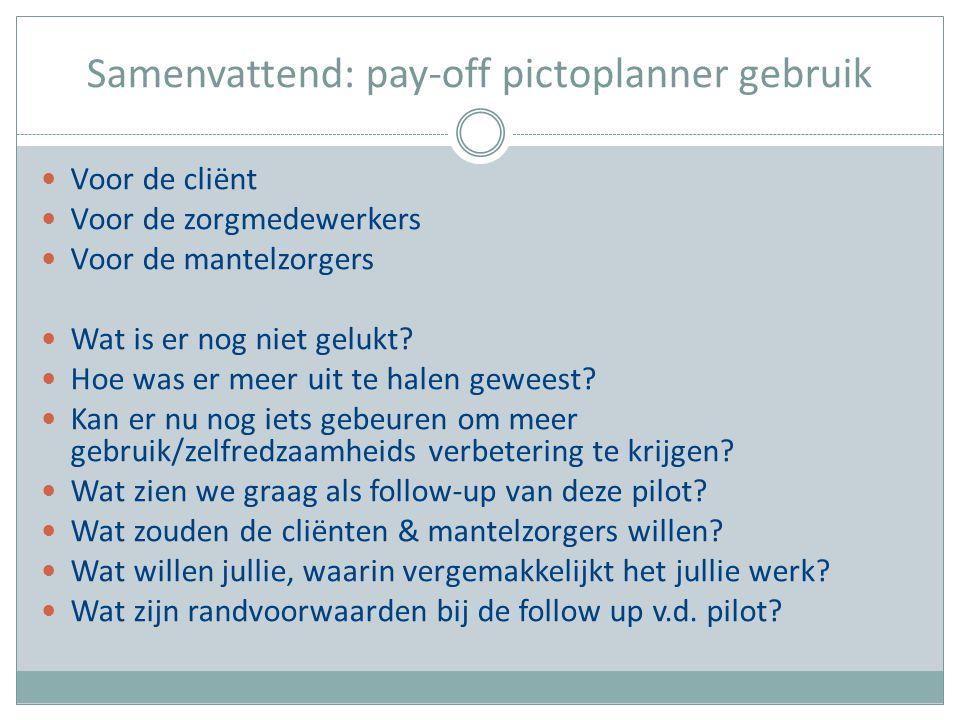 Samenvattend: pay-off pictoplanner gebruik