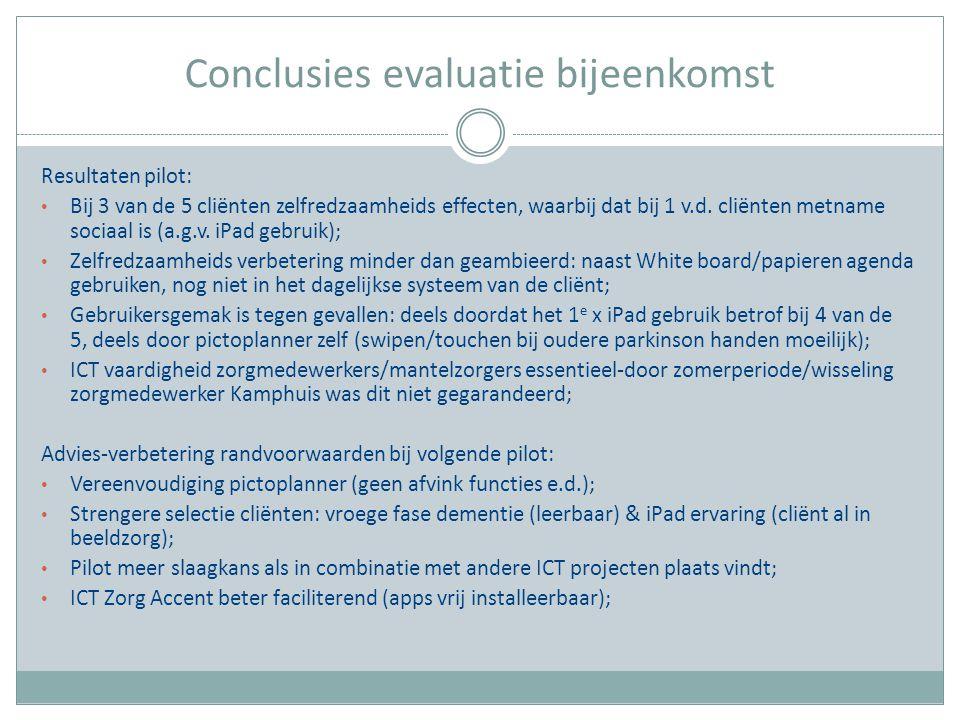 Conclusies evaluatie bijeenkomst