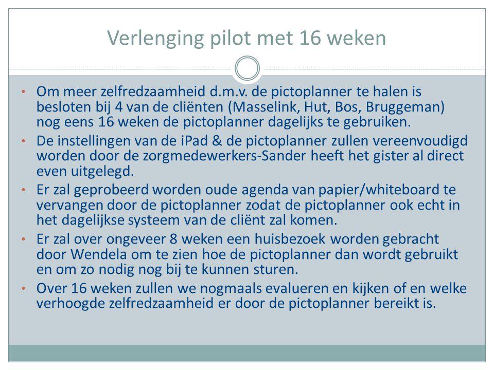 Verlenging pilot met 16 weken