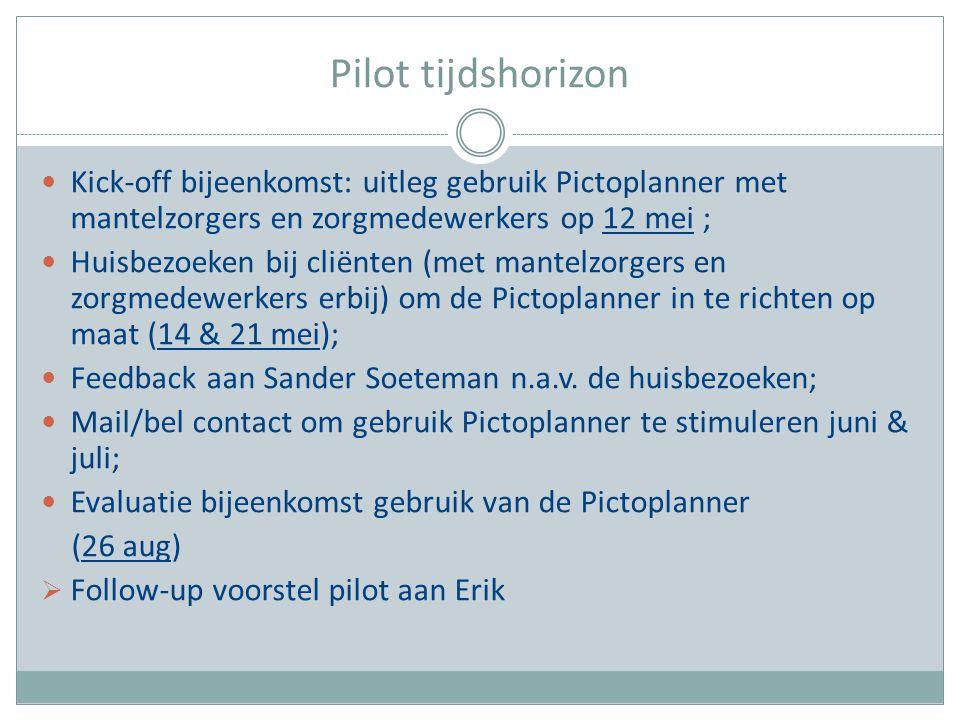 Pilot tijdshorizon Kick-off bijeenkomst: uitleg gebruik Pictoplanner met mantelzorgers en zorgmedewerkers op 12 mei ;
