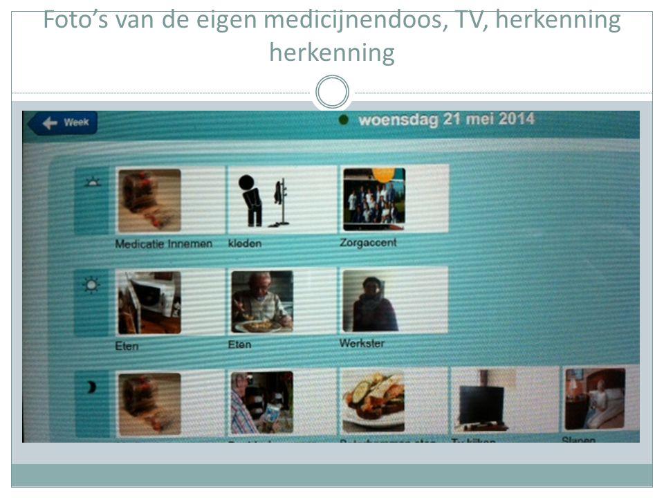 Foto's van de eigen medicijnendoos, TV, herkenning herkenning
