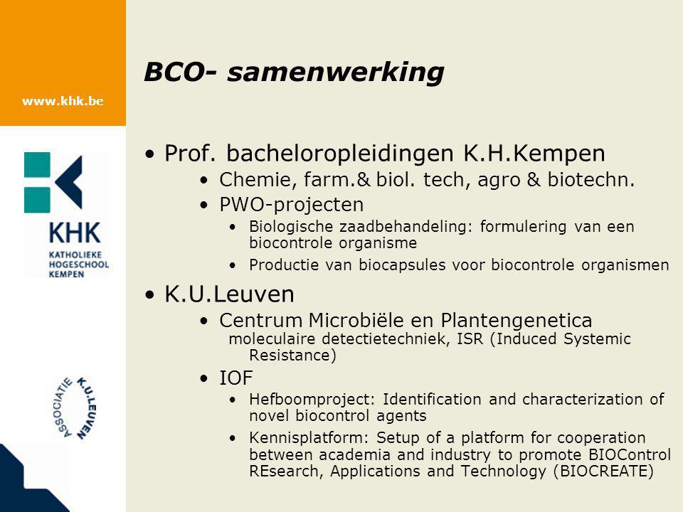 BCO- samenwerking Prof. bacheloropleidingen K.H.Kempen K.U.Leuven