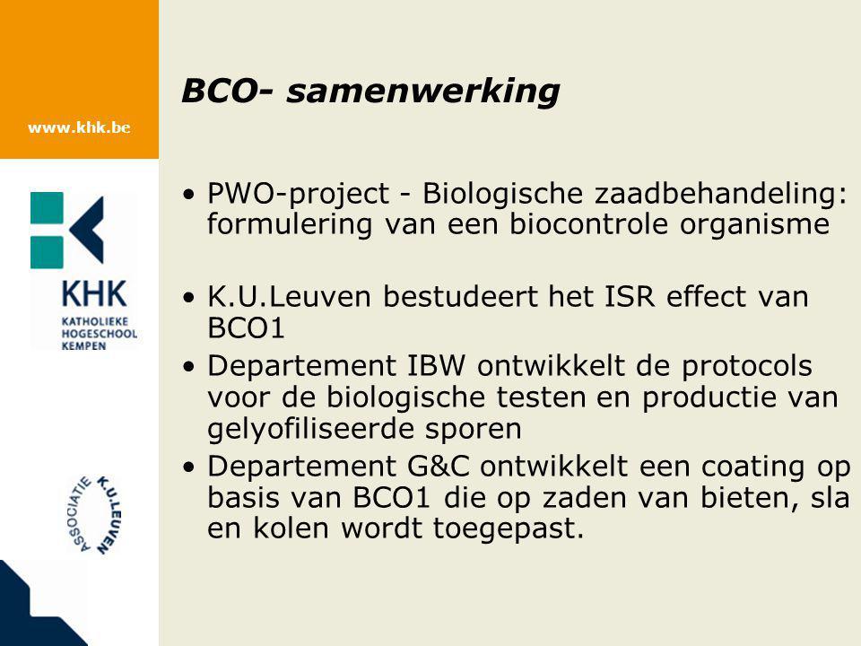 BCO- samenwerking PWO-project - Biologische zaadbehandeling: formulering van een biocontrole organisme.