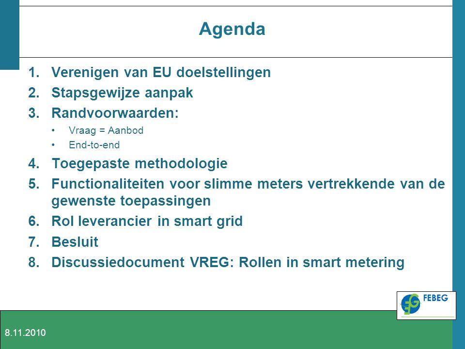 Agenda Verenigen van EU doelstellingen Stapsgewijze aanpak