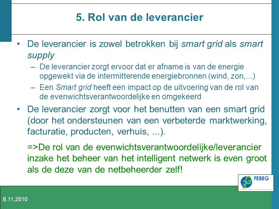 5. Rol van de leverancier De leverancier is zowel betrokken bij smart grid als smart supply.