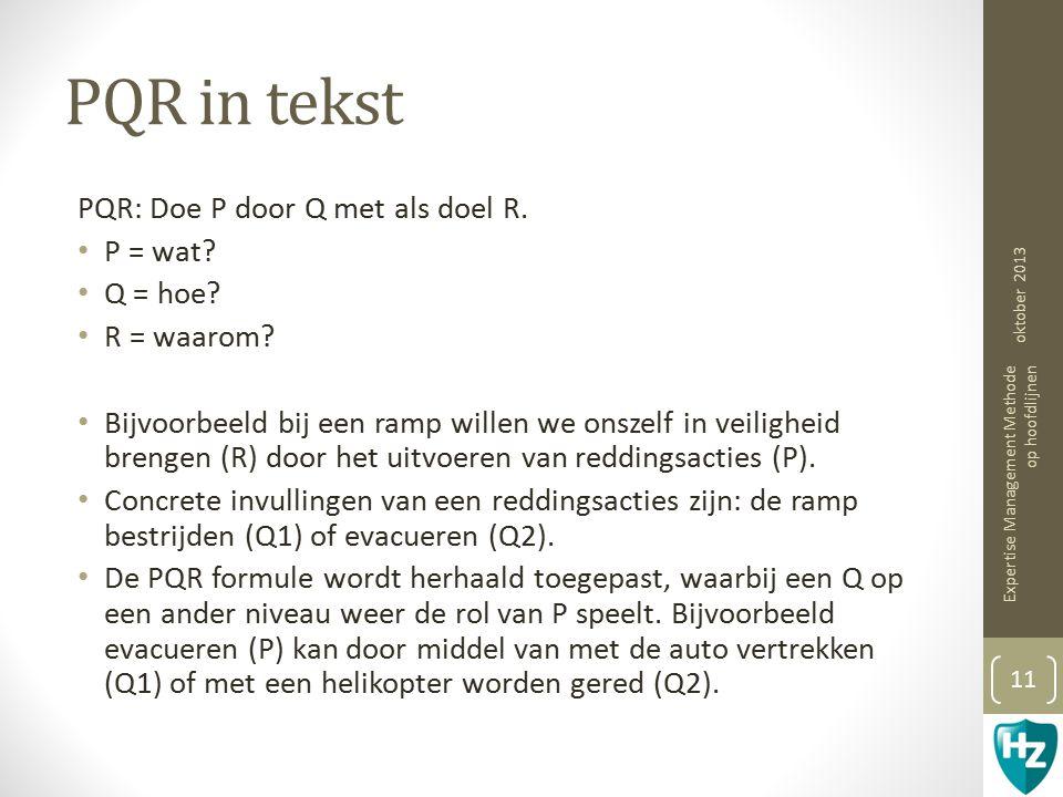 PQR in tekst PQR: Doe P door Q met als doel R. P = wat Q = hoe