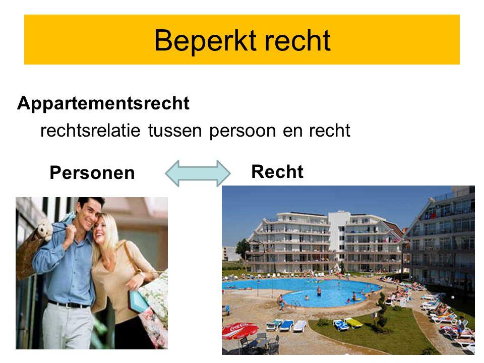 Beperkt recht Appartementsrecht rechtsrelatie tussen persoon en recht