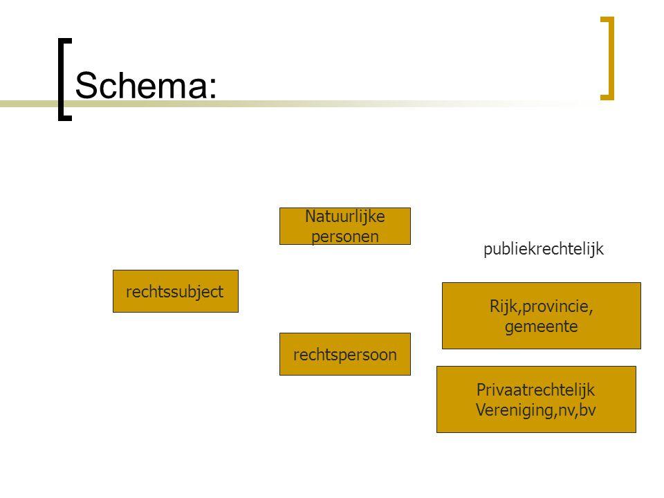 Schema: Natuurlijke personen publiekrechtelijk rechtssubject