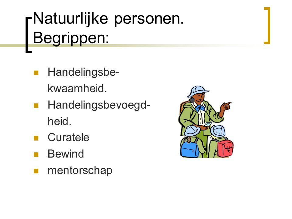 Natuurlijke personen. Begrippen: