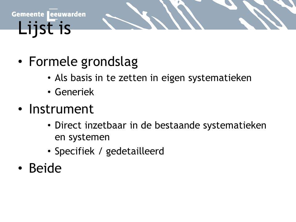 Lijst is Formele grondslag Instrument Beide