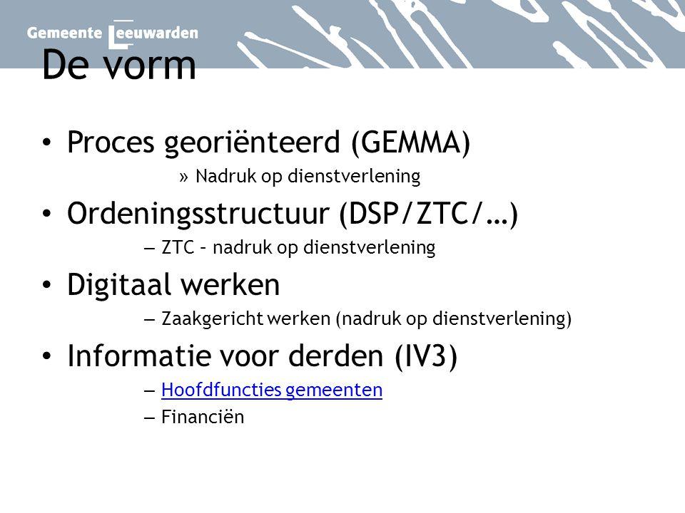 De vorm Proces georiënteerd (GEMMA) Ordeningsstructuur (DSP/ZTC/…)