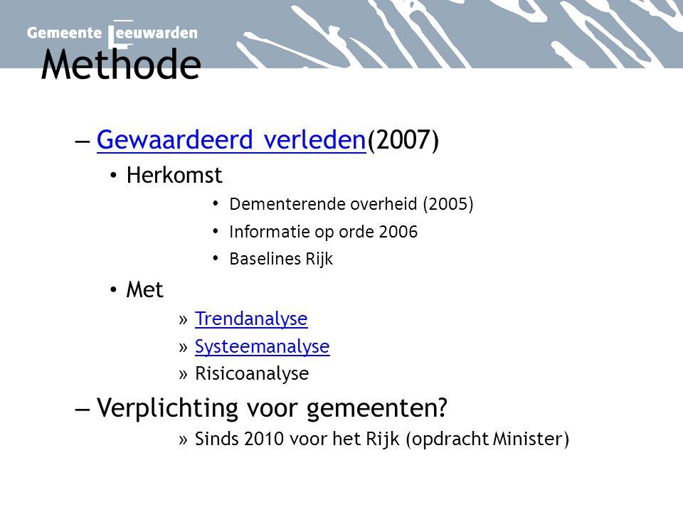 Methode Gewaardeerd verleden(2007) Verplichting voor gemeenten