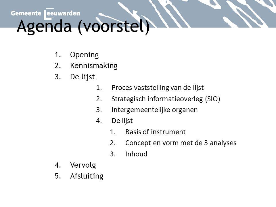 Agenda (voorstel) Opening Kennismaking De lijst