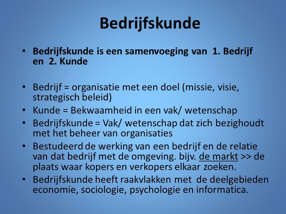 Bedrijfskunde Bedrijfskunde is een samenvoeging van 1. Bedrijf en 2. Kunde.