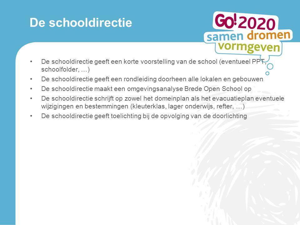 De schooldirectie De schooldirectie geeft een korte voorstelling van de school (eventueel PPT, schoolfolder, …)