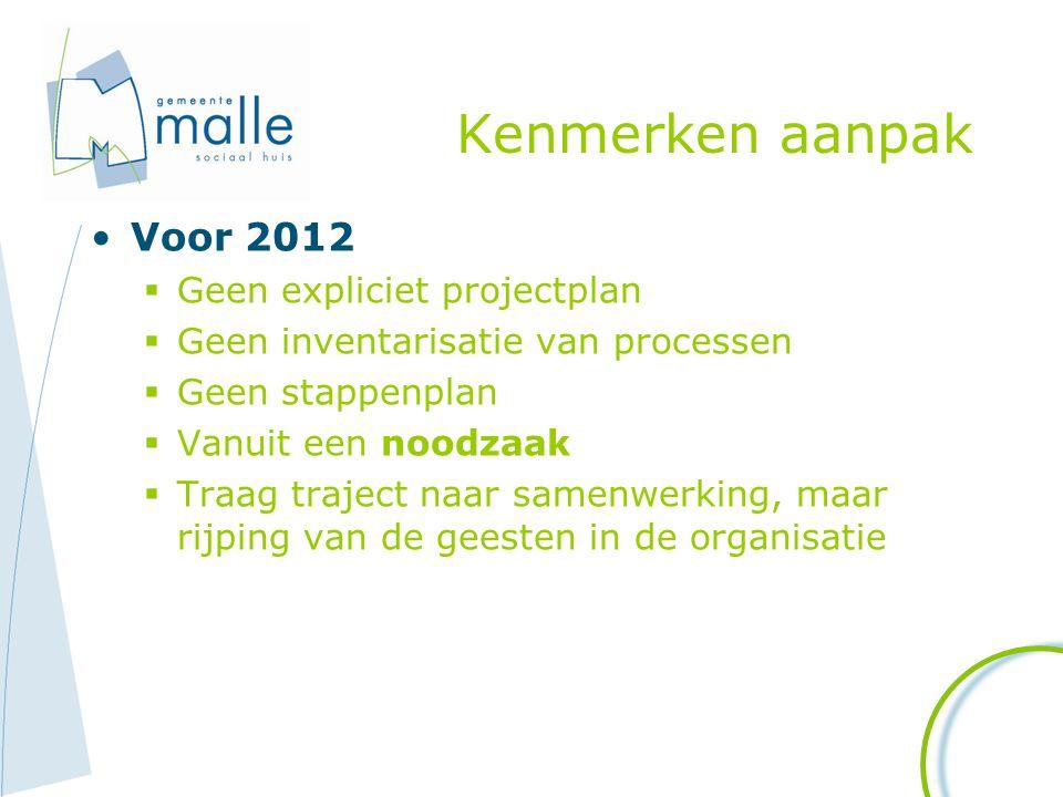 Kenmerken aanpak Voor 2012 Geen expliciet projectplan