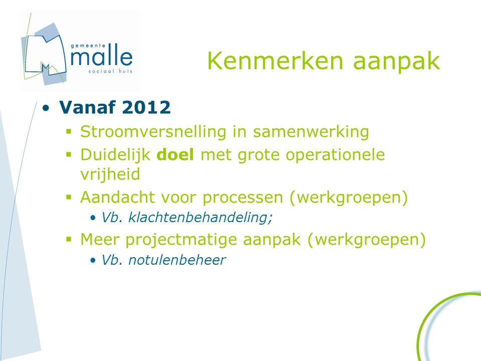 Kenmerken aanpak Vanaf 2012 Stroomversnelling in samenwerking