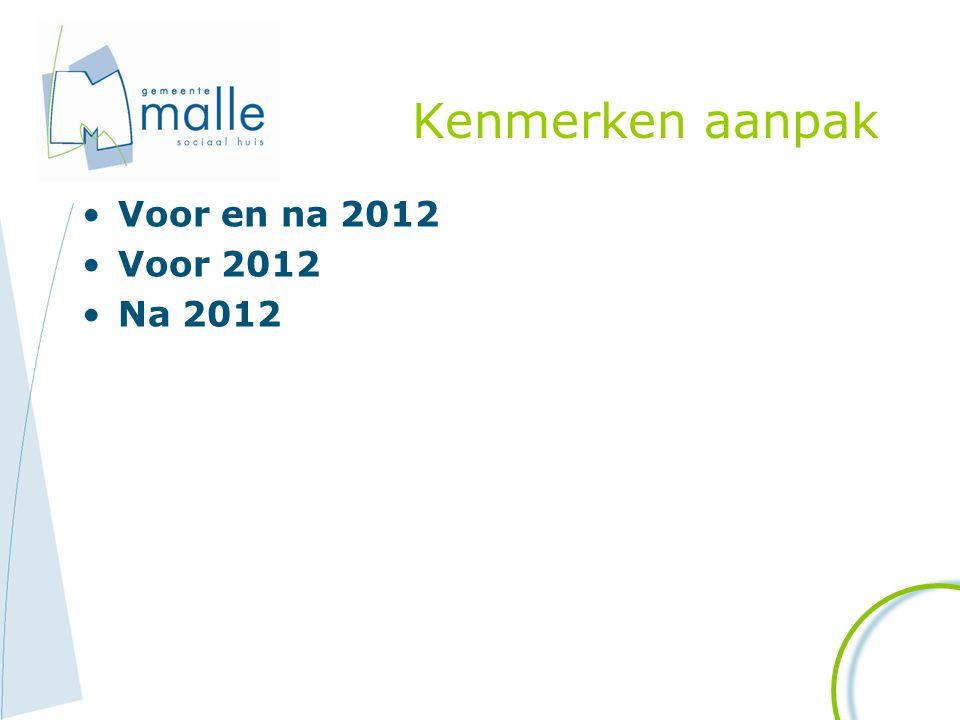 Kenmerken aanpak Voor en na 2012 Voor 2012 Na 2012