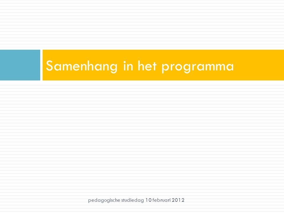 Samenhang in het programma