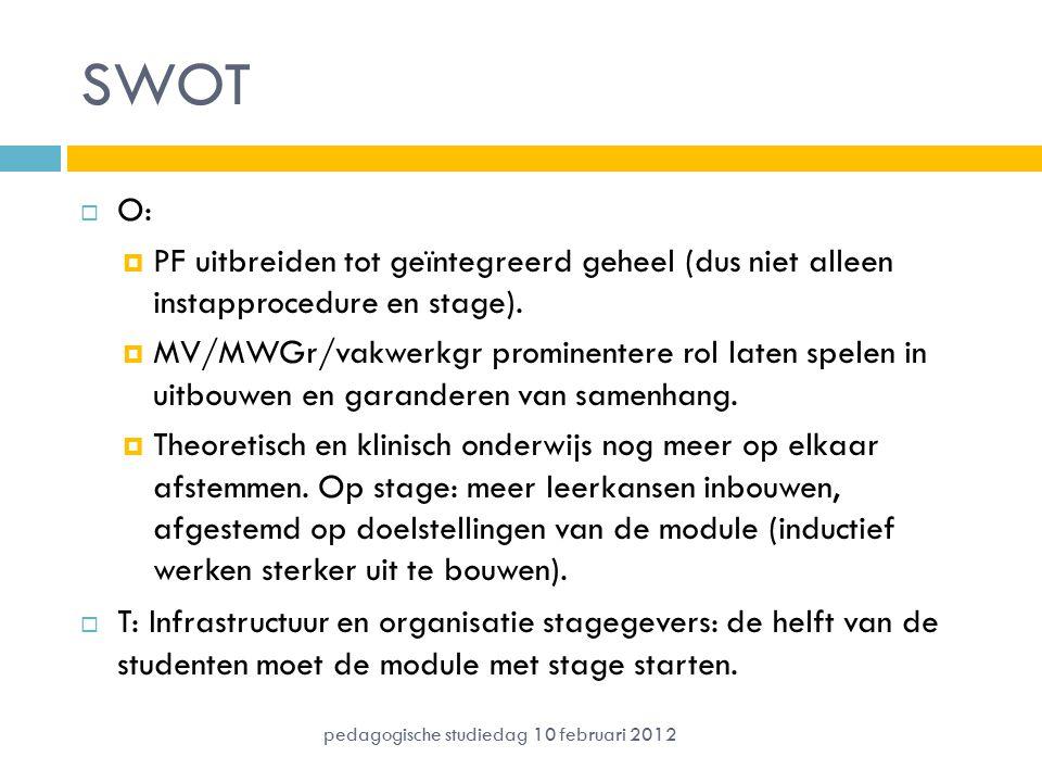 SWOT O: PF uitbreiden tot geïntegreerd geheel (dus niet alleen instapprocedure en stage).