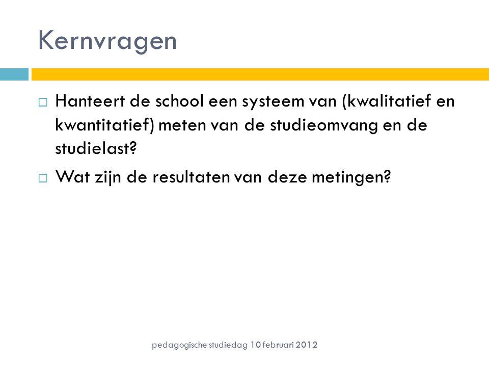 Kernvragen Hanteert de school een systeem van (kwalitatief en kwantitatief) meten van de studieomvang en de studielast
